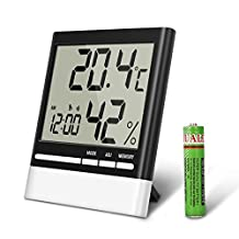 Temperature Hygrometer, EIVOTOR Indoor Thermometers Humidity Monitor with LCD Display, Home Digital Dual Wall Alarm Clock with Day, Date - Battery Included