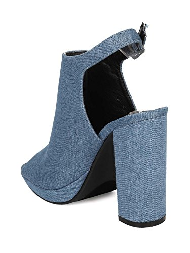 CAPE ROBBIN Women Denim Peep Toe Embroidered Block Heel Mule HJ85 - Denim (Size: 10) by CAPE ROBBIN (Image #2)