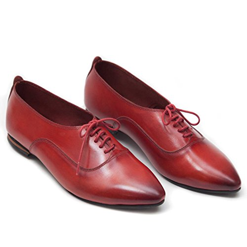 Bangi Handmade Women Leather Oxford Shoes (6.5 US | 36 EU, Red)