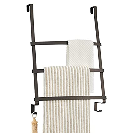 MDesign Over The Door Towel Rack With 3 Bars And 2 Hooks For Bathroom    Bronze