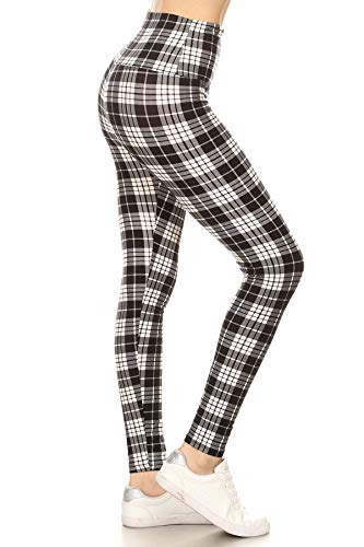 LY5R-S576 Muted Plaid Printed Yoga Leggings, One Size