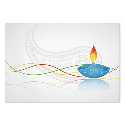 Large Wall Mural Sticker [ Diwali,Tribal Art Religious Festive Fire Candle Image with Modern Paisley Backdrop Print,Multicolor ] Self-adhesive Vinyl Wallpaper / Removable Modern Decorating Wall Art