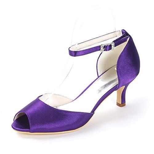 Hebilla Mujer Para tacones Medias Corte L Peep yc Toe Bodas De Bombas Sandalias Cm Banquete 6 Satén Noche Purple Zapatos wPq5Xqzx