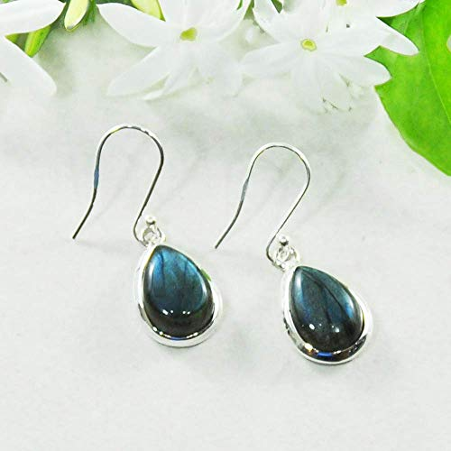 Sivalya 3.00 Ctw Pear Cut Labradorite Earrings in 925 Sterling Silver, Genuine Teardrop Shape Gemstone Solid Silver French Hook Dangle Earrings 1.5""