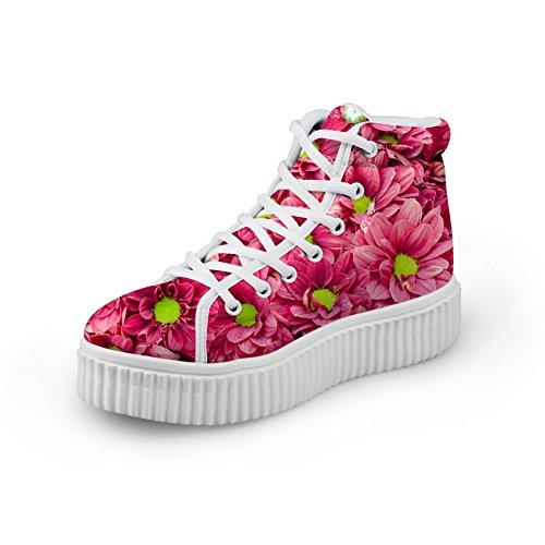 Bigcardesigns Kvinnor 3d Blommönster Höst Stil Dagliga Skor Tillfälliga Platta Sneakers Rött