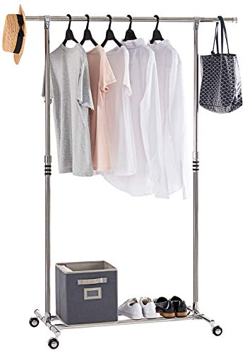 YOUDENOVA Height Adjustable Clothing Rack on Wheels, Rolling Clothes Garment Rack with Storage Shelf, Stainless Extendable Clothes Organizer Stand