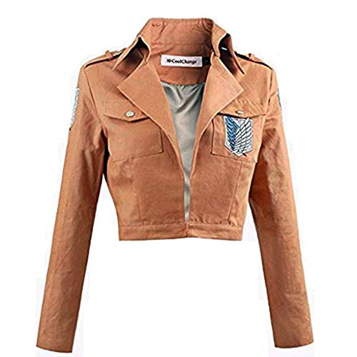 Attack on Titan Jacket Khaki Halloween Christmas Cosplay Costumes for Teens Women(M) -