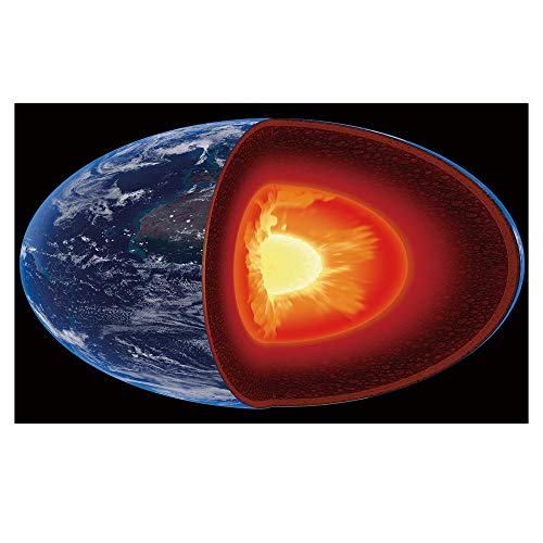r Removable,Earth,Hot Burning Earth Core Structure with Geological Layers Vibrant 3D Style Image Decorative,Orange Black Blue,for Living Room Bathroom Decoration,35.4x23.6 ()