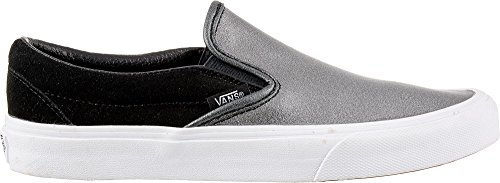 Vans Womens Classic Slip-on Seasonal Leather Trainers, Multicolour (2-Tone Metallic/Black/True White), 6 UK 39 EU