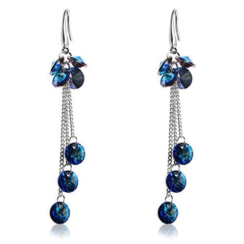 Blue Sapphire Crystal Chandelier Dangle Earrings Sterling Silver Plated Drop Long Tassel Earrings -