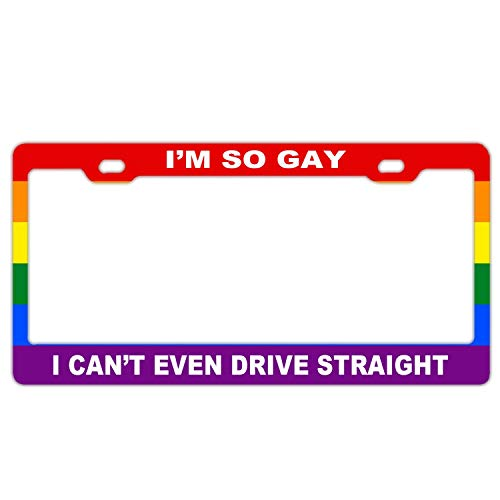 Custom License Plate Frame Gay Pride, Slim Aluminum Metal Car License Plate Cover Holder for Standard US Vehicles, 2 Holes with Screws - Gay Pride Rainbow Flag I'm So Gay I Can't Even Drive Straight