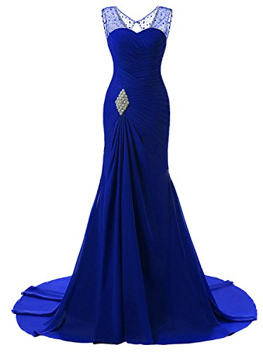 Lily Wedding Womens Mermaid Prom Bridesmaid Dresses 2018 Long Evening Formal Party Ball Gowns FED003 Royal Blue Size 22 Plus