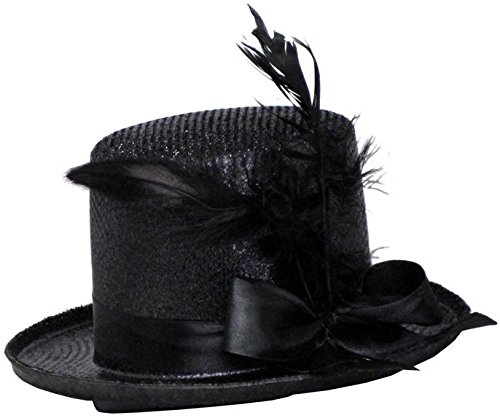 Jacobson Hat Company Women's Mini Glitter Top Hat Headband, Black, Adult ()