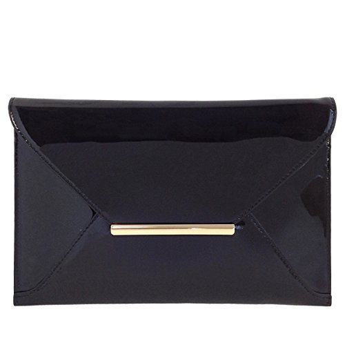 Faux Patent Leather Envelope Candy Clutch Bag, Black