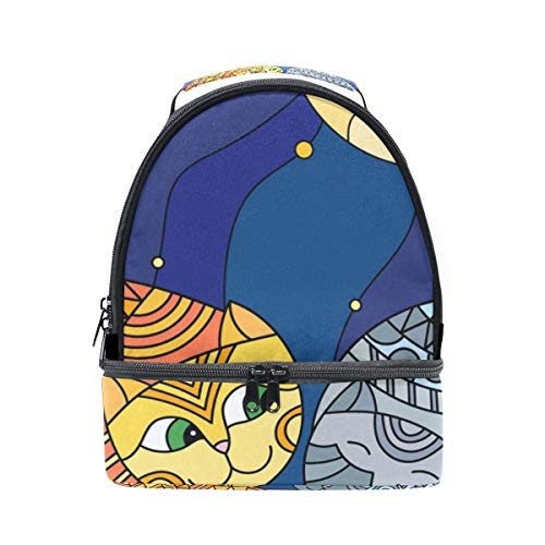 - GIOVANIOR Abstract Cats In Stained Glass Sitting On The Roof Against Starry Sky And Moon Lunch Bag Insulated Lunch Box Picnic Bag School Cooler Bag for Men Women Kids