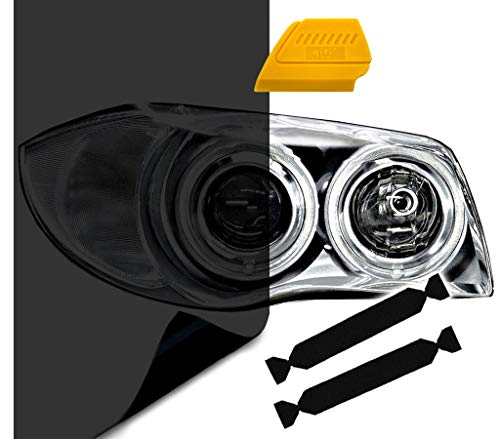 Black Plastic Grey Lens - VViViD Air-Tint Extra-Wide Headlight Taillight Vinyl Tint Wrap 16 Inch x 48 Inch Roll Including Yellow Detailer Squeegee & 2X Black Felt Edge Decals (Dark Black)