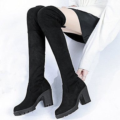 Evening Party Shoes amp;Amp; Black Gray Boots Fall Heel Fur UK3 EU36 Knee Chunky Boots Winter High Boots CN35 Fashion Women'S For 5 RTRY 5 Casual US5 Zq5axHTw