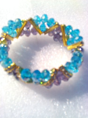 Blue Purple Crystal Faceted Beads GIFT Bracelet Bangle 7