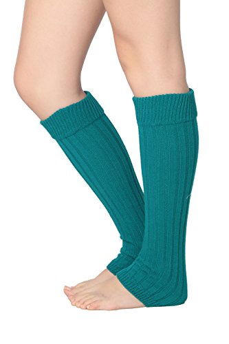 Isadora Paccini Women's Ribbed Knit Leg Warmers, One Size, LW15, teal (Adult Leg Warmers)