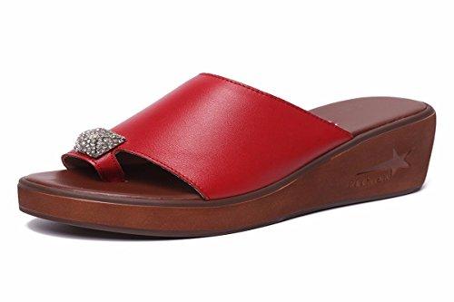 HBDLH Zapatos de Mujer/Zapatillas De Verano De Cuero En Verano Zapatos De Mujer En El Fondo. gules