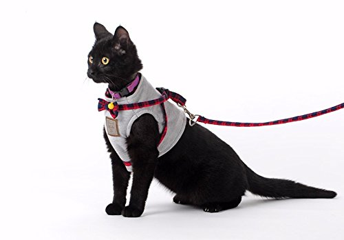 Bestag Cat Harnesses Traction Kit Elegant British Style Jacket with Leash and Collar (Large, Gray)