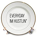 3dRose Tory Anne Collections Quotes - Everyday Im Hustlin - 8 inch Porcelain Plate (cp_288561_1)