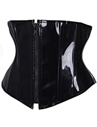 SAYFUT Black PVC Leather Steampunk Gothic Wasit Trainer Underbust Corset Bustier