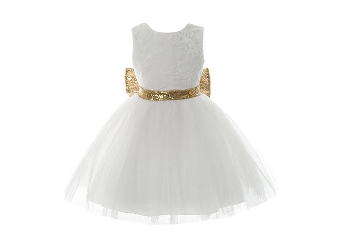BOZEVON Niños Bebé Vestido Elegante Cordón Bowknot Princesa sin Mangas de Niñas Fiesta de Noche Vestido
