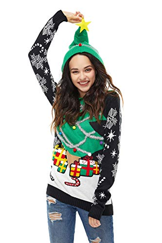 Unisex Women's Ugly Christmas Sweater Hoodie Funny Knitted Xmas Pullover Sweatshirt - A Season's Star is Born, Small (Fair Jumper Xmas Isle)