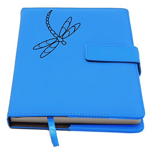 The Dragonfly Refillable Writing Journal | Faux Leather Cover, Magnetic Clasp + Pen Loop | Blank Notebook | 200 Lined Pages, 6 x 8.Inches for Travel, Personal, Poetry | Light Blue | The Amazing Office