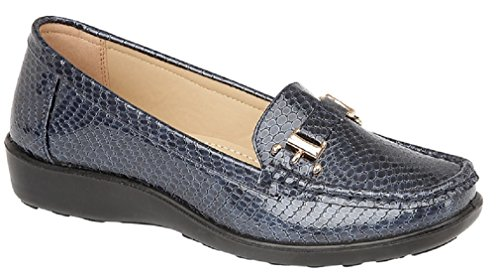 Jo & Joe Womens Flats Snakeskin Print Deck Boat Loafers Moccasins Driving Shoes Size 3 4 5 6 7 8 Navy 6Y2NBCr