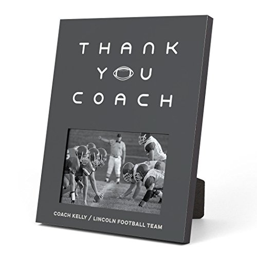 (ChalkTalkSPORTS Personalized Football Photo Frame | Thank You Coach Picture Frame | Charcoal)