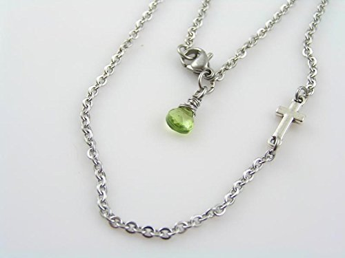 Religious Cross Peridot - Inline Cross Necklace with Peridot, Stainless Steel