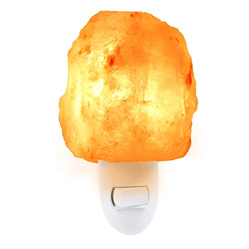 (HRUIHKV Lightme Natural Shaped Salt Rock Night Light Hand Carved Crystal Wall Lamp Halloween)
