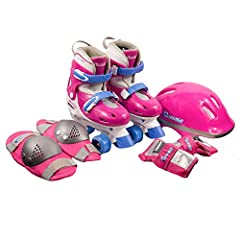 Get ready for fun, smooth, and safe rolling skating! For the beginner, Chicago Skates offers the Girl's Quad Skate Combo; including the stylish adjustable quad skates, knee pads, wrist guards, and safety helmet. Quad skates are the most recog...