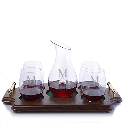 Personalized Riedel Crystal O Single Wine Decanter and 4