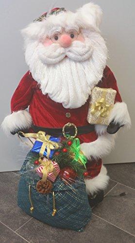 Bezaubernder Weihnachtsmann - beleuchtete Fibre - Optik - mit dezentem Farbspiel im Gesicht und Bart und Geschenke - Sack - mit Trafo und Zuleitung 1,50 m inklusive - NEU für Sie entdeckt im KAMACA-SHOP (80 cm hoch)