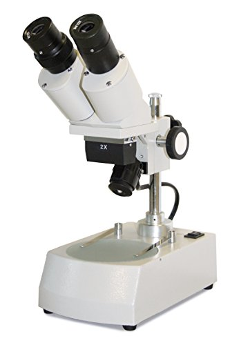 Vision Scientific VMS0001-LD-2-E2 Binocular LED Stereo Microscope, 2x Objective, 20x-40x Magnification, Top and Bottom LED Illumination,Black and White Reversible Stage Plate, Post-Mounted Stand, 110V by Vision Scientific