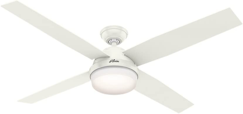 """Hunter Dempsey Indoor Ceiling Fan with LED Light and Remote Control, 60"""", White"""