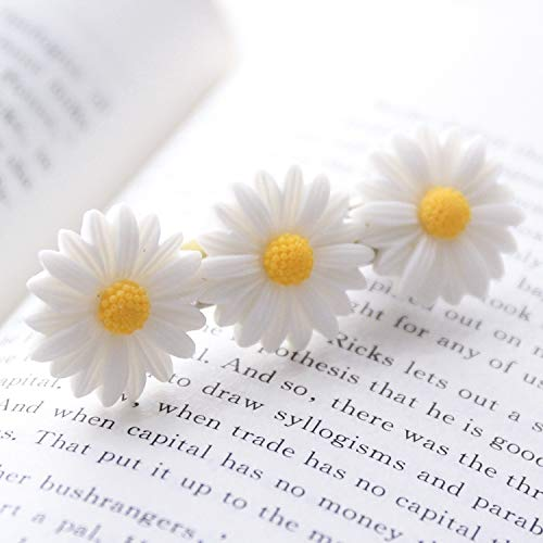 Unique Daisies Daisy Flower Hair Accessories Hair Rope Rubber Band Hair Ring Hairpin Hair Elastic Rope Ponytail Holder Women Girls Head Flower Headdress (6460 White Spent Three Duckbill Clip -