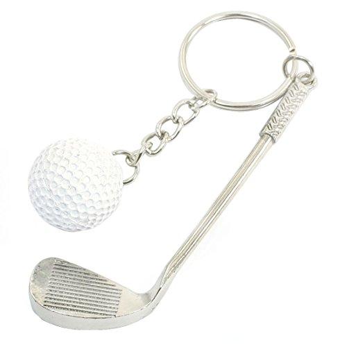 d Ball Golf Stick Decor Split Ring Keychain Silver Tone (Tone Golf Ball)