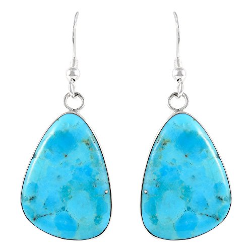 Turquoise Earrings Sterling Silver 925 & Genuine Gemstones (Turquoise)