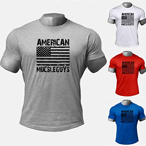 Men's Short Sleeve Tops,American Flag Graphics Shirts Muscle Sports Blouse Workout Fitness ElasticT Shirt