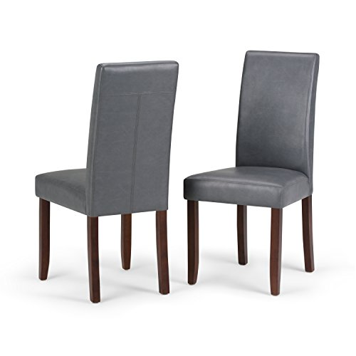 Designer Leather Chairs - Simpli Home Acadian Parson Dining Chair, Stone Grey (Set of 2)