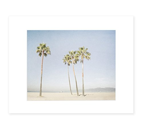 California Wall Art, Venice Beach Palm Tree Art, Santa Monica Coastal Wall Decor, Tropical Beach Picture, 8x10 Matted Print, 'Boardwalk Palms' (Framed California Photograph)