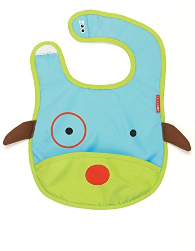 Skip Hop Zoo Little Kid and Toddler Tuck-Away Water Resistant Baby Bib, Multi Darby Dog