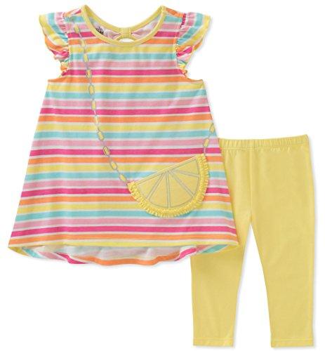 - Kids Headquarters Girls' Toddler Tunic Set-Capsleeves, Yellow/Pink/Aqua, 4T
