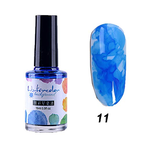 xxiaoTHAWxe Blooming Nail Gel, DIY Watercolor Ink Polish Blooming Nail Art Gel Smoke Effect Smudge Varnish 11