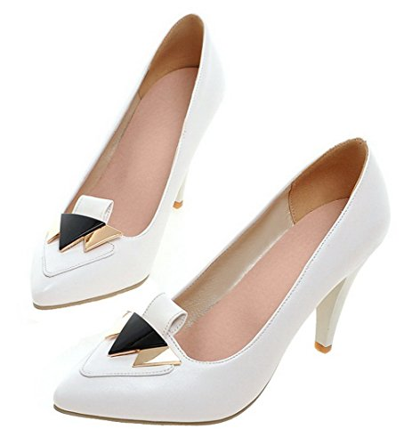 AllhqFashion Womens Solid PU High-Heels Closed-Toe Pumps-Shoes White 9oVrgW