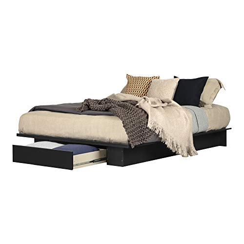 South Shore Primo 54/60-Inch Platform Bed with Drawer, Full/Queen, Pure Black